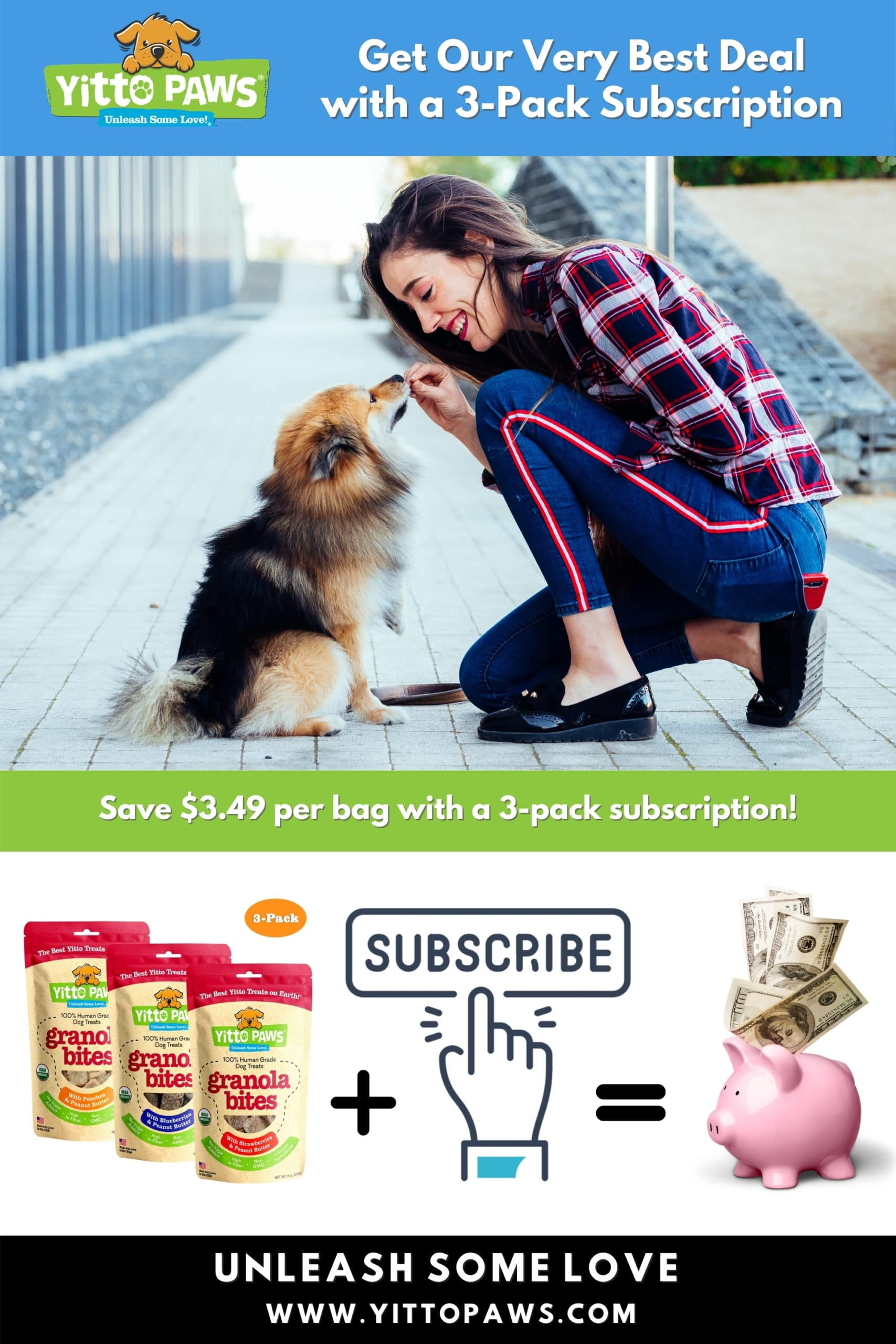 Get Our Best Deal with a 3-Pack Subscription of Yitto Paws organic dog treats!