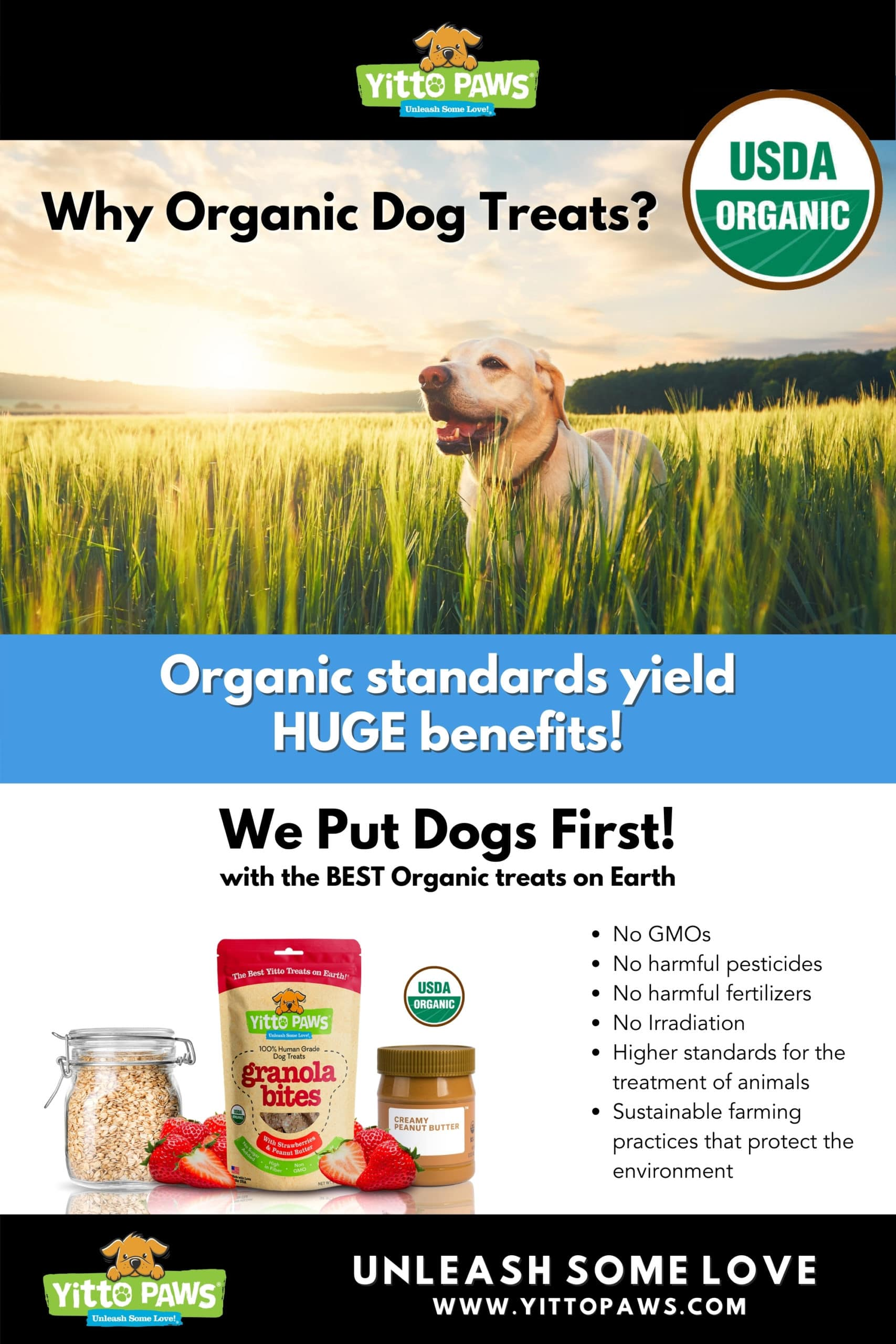 Why are organic dog treats important? Organic standards yield HUGE benefits for dogs and our environment!