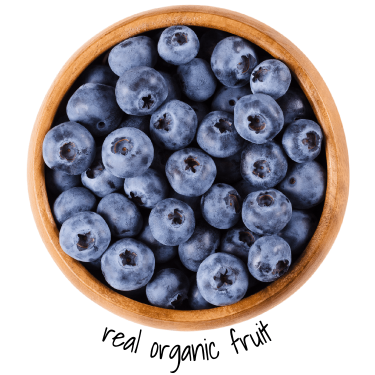 wooden bowl of organic blueberries
